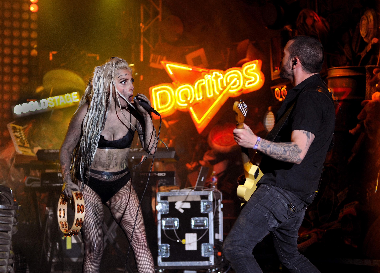 Lady Gaga promotes Doritos, or vice versa. (Photo via Getty Images)