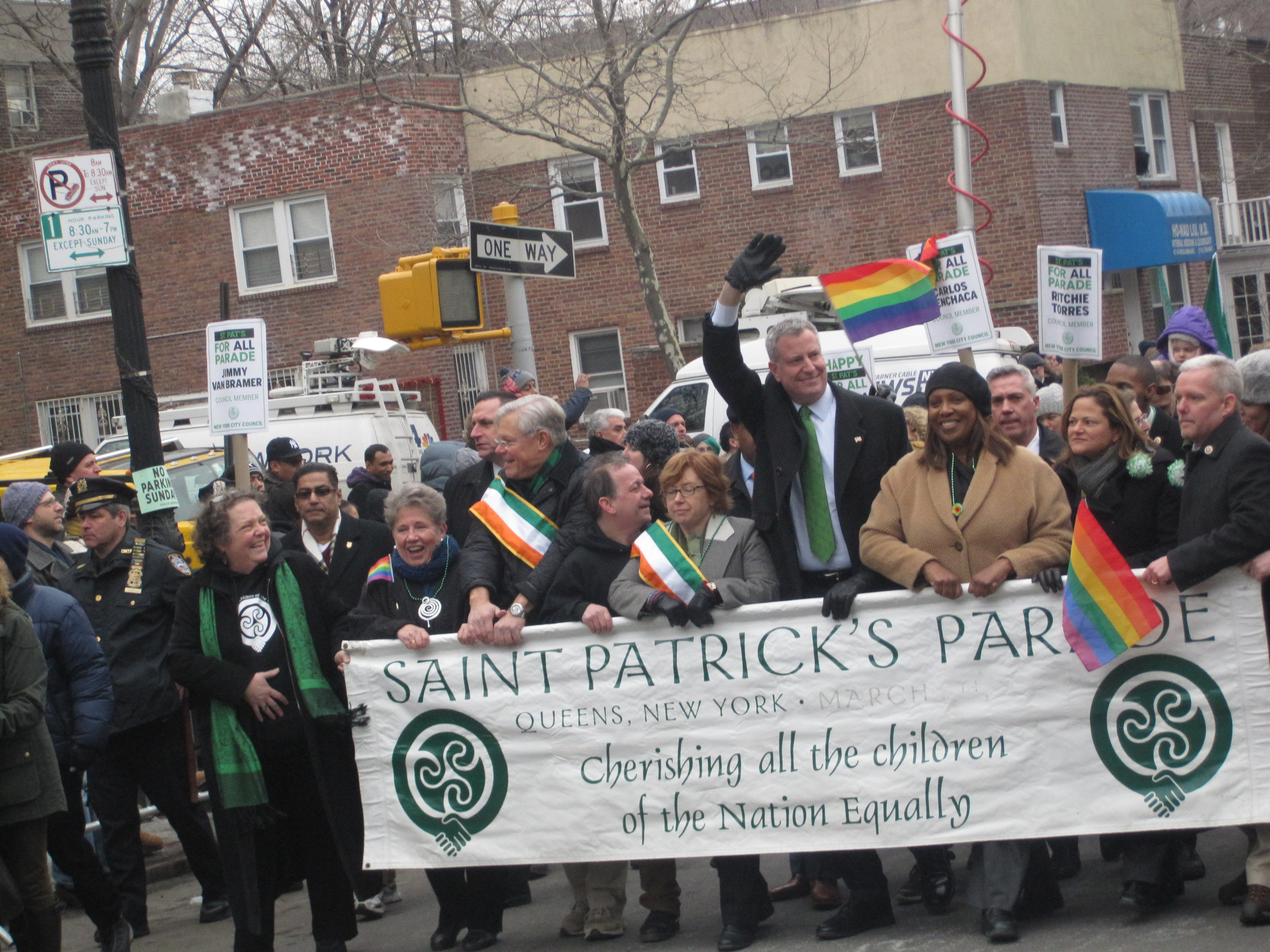 Bill de Blasio marching today in the St. Pat's for All Parade.