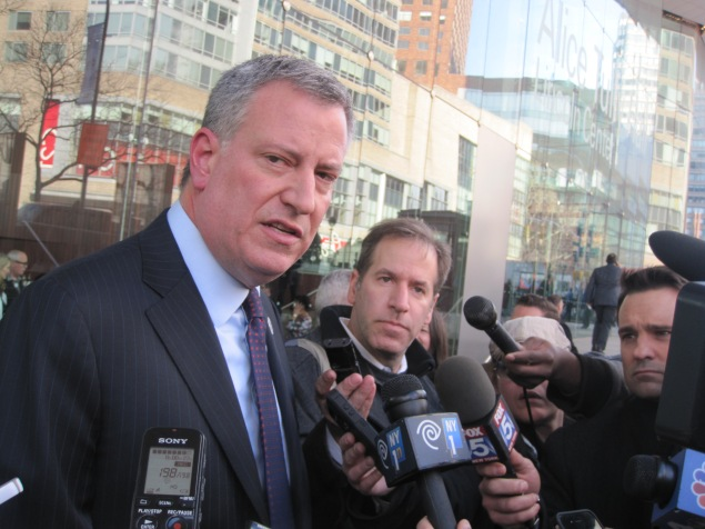 Mayor Bill de Blasio speaking with reporters.