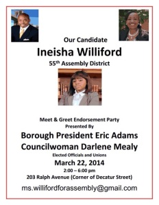 A poster for Ineisha Williford's kickoff this weekend, featuring Borough President Eric Adams and Councilwoman Darlene Mealy.