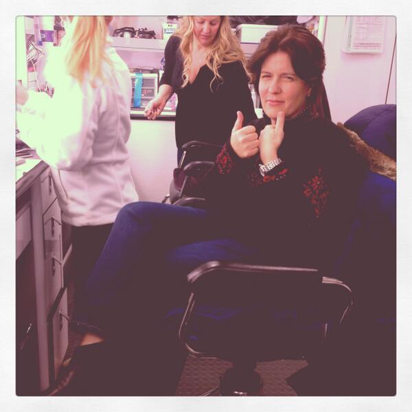 Ms. Swisher on set. (Photo: Twitter.com/karaswisher)