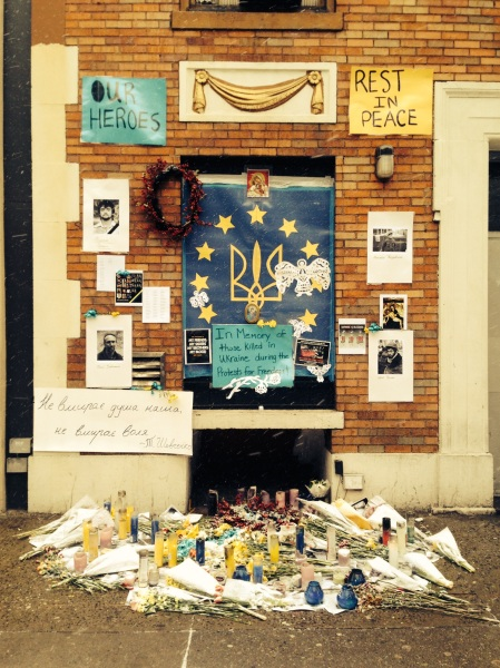 A memorial on Second Avenue, next to Veselka, for the 100+ Ukranian protesters killed last month. (Photo by Mark Stinson)