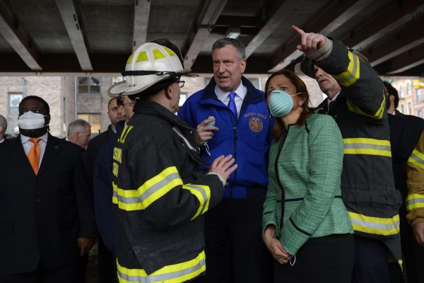 Speaker Melissa Mark-Viverito at the scene of the East Harlem Building Collapse. (Photo: Rob Bennett for the Office of Mayor Bill de Blasio)