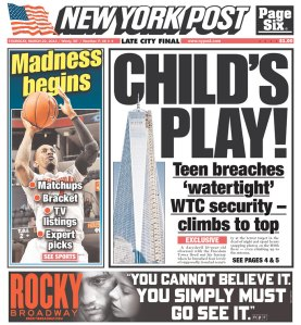 Today's New York Post cover with the story.