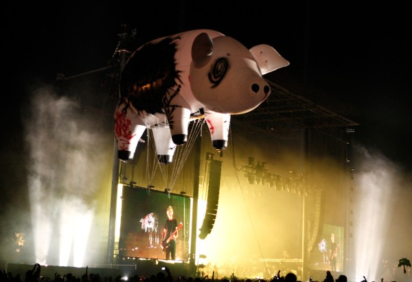 The Pig flies near the stage during a Roger Waters performance. (Photo via Getty Images)