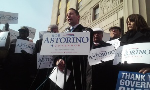 """Rob Astorino launches his campaign next to a """"Thank You Governor Cuomo"""" sign."""
