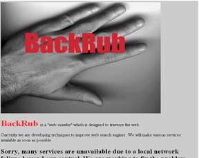Screenshot of the first version of Backrub