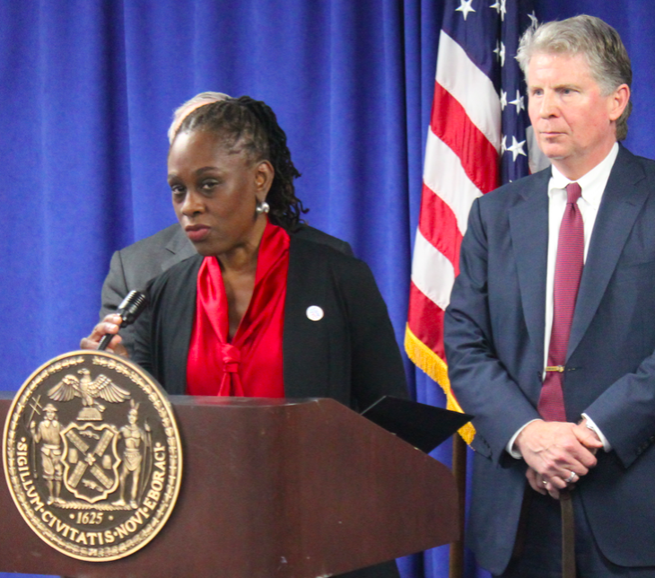 Chirlane McCray speaks at the opening of Manhattan's Family Justice Center