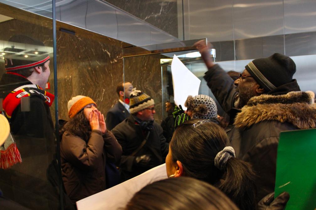 Public school advocates protest in lobby