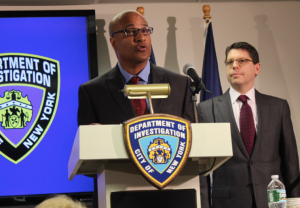Philip Eure and DOI Commissioner Mark Peters at today's press conference.
