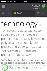 #tech (Screengrab: Vocabulary.com)