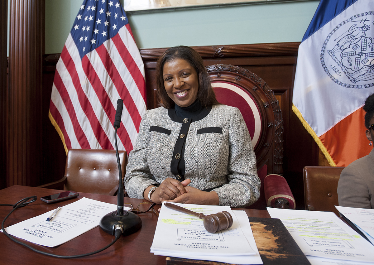 Public Advocate Letitia James during a January council meeting. (Photo: Official NYC Council/William Alatriste.)