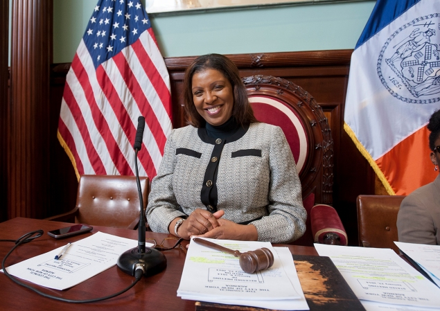 Public Advocate Tish James during a January council meeting. (Photo: Official NYC Council/William Alatriste.)