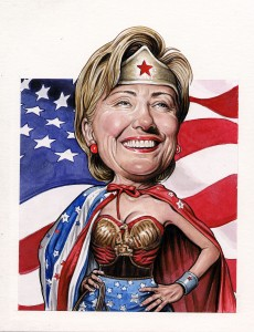Hillary Clinton. (Drew Friedman for the Observer)