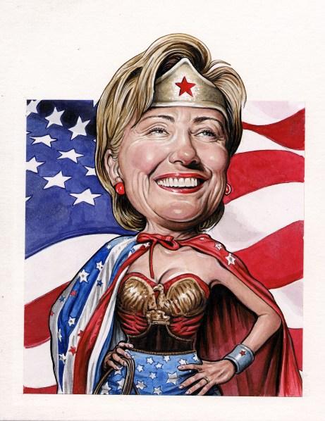 Hillary Clinton, prescient media critic. (Drew Friedman for the Observer)
