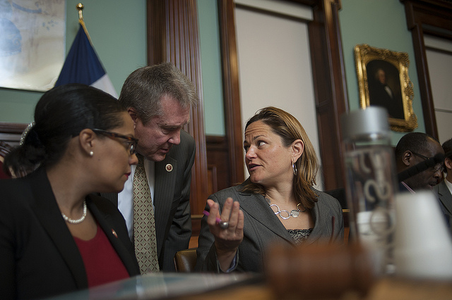 Council Speaker Melissa Mark-Viverito with two members of the Progressive Caucus.