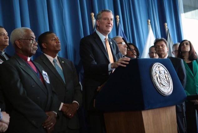 Mayor Bill de Blasio today, sans Congressman Michael Grimm. (Photo: NYC Mayor's Office)