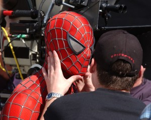 Tobey Maguire's stunt double preparing to film a scene on the set of 'The Amazing Spider-Man.' (Photo: Mark Mainz/Getty Images)