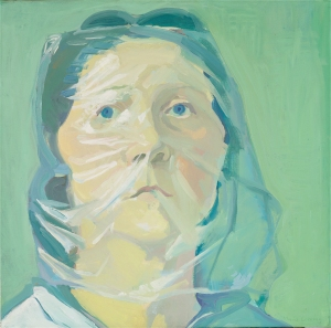 'Self-Portrait Under Plastic'  (1972) by Lassnig. (Photo ©Peter Cox, courtesy Collection de Bruin-Heijn)