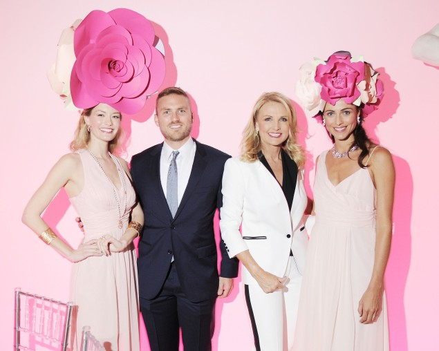 Daniel Dresbauch and Petra Levin pose  with Van Cleef & Arpels models. (Photo by Patrick McMullan)