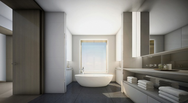A bathroom with free-standing tub.