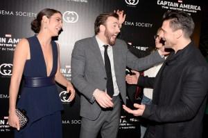 Cobie Smulders, Chris Evans, Frank Grillo. (Courtesy Patrick McMullan)