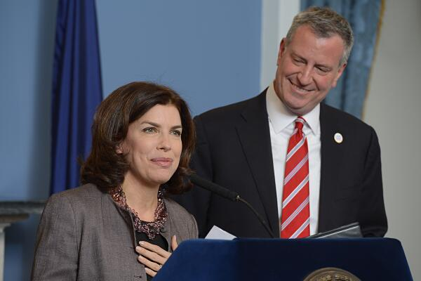Julie Menin and Mayor Bill de Blasio at today's press conference. (Photo: Twitter/@BilldeBlasio)
