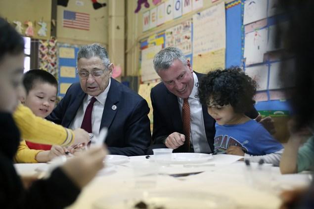 Mayor Bill de Blasio at thee pre-K classroom earlier today. (Photo: Rob Bennett/NYC Mayor's Office)