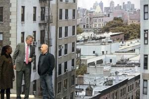Mayor Bill de Blasio, First Lady Chirlane McCray and Douglas Steiner touring Steiner Studios today. (Photo: Ed Reed/NYC Mayor's Office)