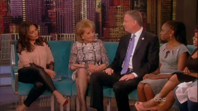 Mayor Bill de Blasio on the set of The View. (screengrab)