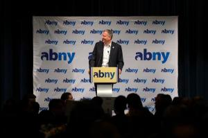Bill de Blasio this morning during a surprise appearance at ABNY. (Photo: Flickr/NYCMayorsOffice)