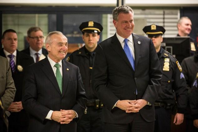 Mayor Bill de Blasio and Commissioner Bill Bratton (Photo: Andrew Burton/Getty Images).