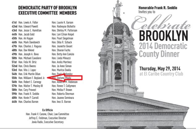 The Brooklyn Democratic Party's fund-raising invitation. (Arrow not part of original.)