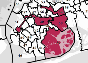 An overlay of vacant Assembly and Senate districts in Brooklyn.