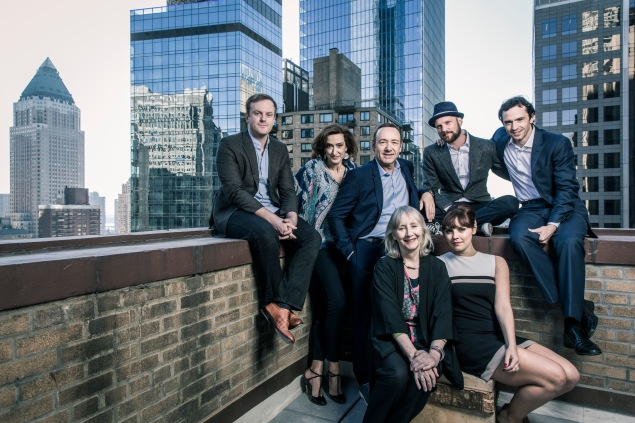 Clockwise from left: Jeremy Bobb, Haydn Gwynne, Kevin Spacey, Jeremy Whelehan, Nathan Darrow, Annabel Scholey, Gemma Jones.