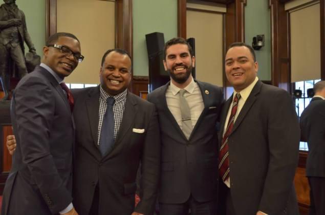 Erik Dilan (far right) standing next to Councilman Rafael Espinal. (Photo: Facebook)