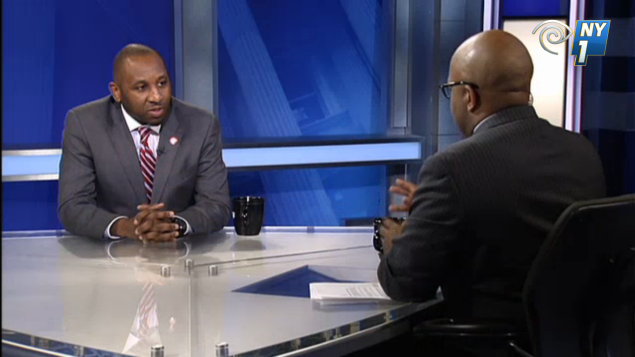 Donovan Richards speaking to NY1 host Errol Louis. (screengrab: NY1)