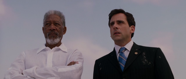 Morgan Freeman, left, and Steve Carrell in Evan Almighty.