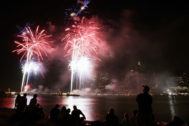 Thousands of people watch the fireworks along the East River on July 4, 2005.  (Photo: David Paul Morris/Getty)