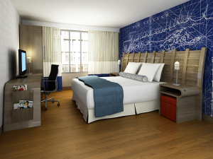 Rendering of a guestroom at Fairfield Inn & Suites, at 161 Front Street. (Glen Coben Architecture & Design)
