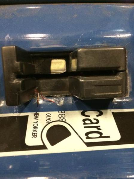 Wires and battery of skimming device. (MTA)