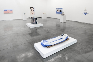 "Installation view of ""John Wesley: Objects and Paintings,"" 2013, at Kordansky. (Courtesy David Kordansky Gallery)"