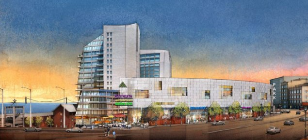 A rendering of the Lighthouse Point mixed use development. (Triangle Equities)