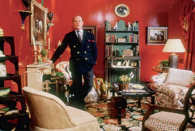 Mr. Buatta shows off one of his interiors. (Mario Buatta: Fifty Years of American Interior Decoration/Rizzoli)