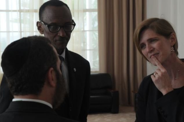 The author meets with Rwandan President Paul Kagame and Samantha Power, United States Ambassador to the United Nations, in Rwanda today to commemorate the 20th anniversary of the Rwandan genocide. (Photo courtesy of Rabbi Shmuley Boteach)
