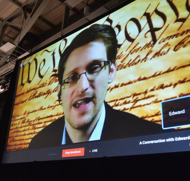 Edward Snowden speaks at SXSW. (Photo via Getty Images)