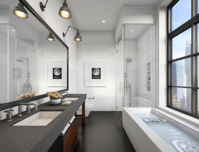 A rendering of a bathroom, complete with industrial flair.