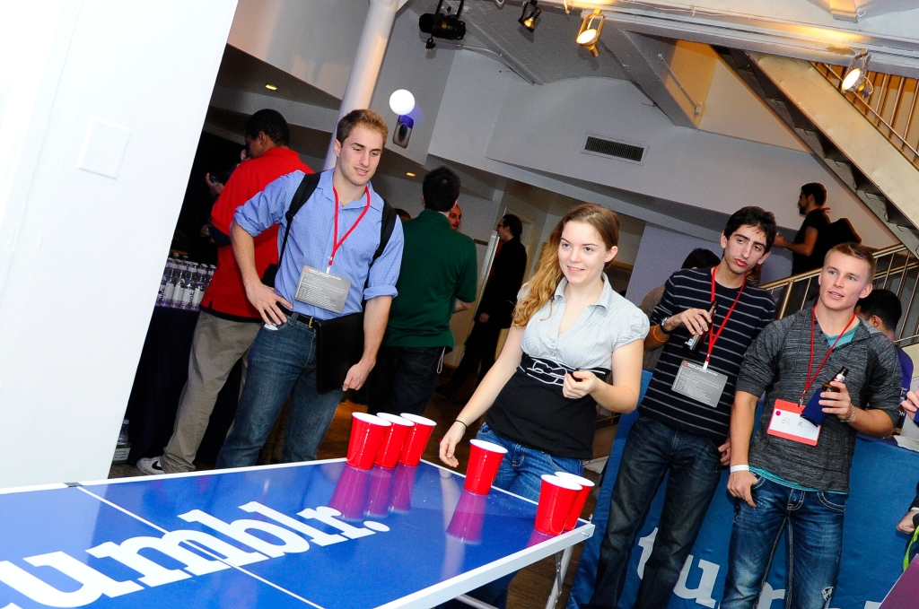 Nothing wrong with a little beer pong break. (Photo: Uncubed)