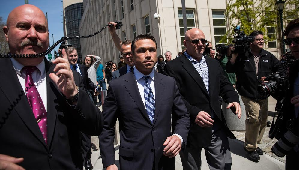 Congressman Michael Grimm walking out of Brooklyn Federal Court today. (Photo: Andrew Burton/Getty Images)