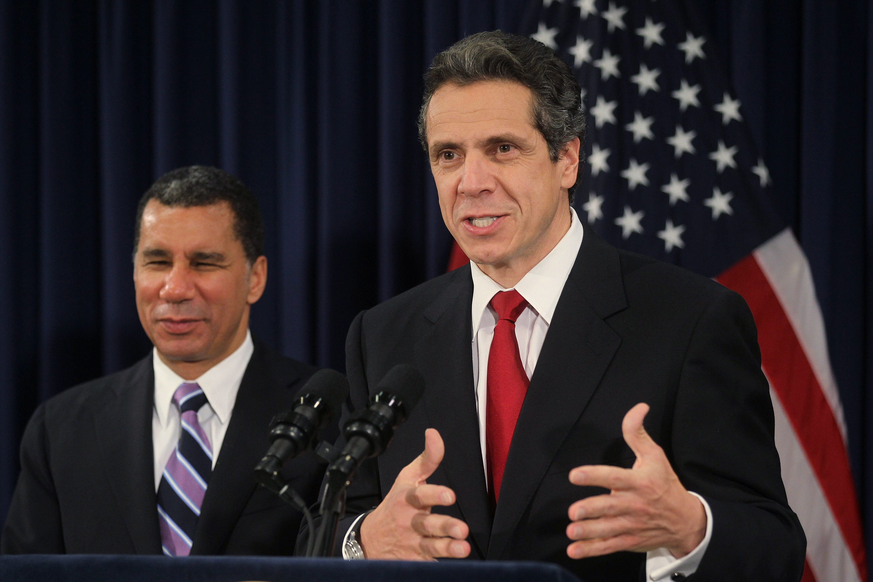 Governor Andrew Cuomo and David Paterson. (Photo: Mario Tama/Getty Images)